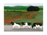 Cows and Poppies Giclee Print by Maggie Rowe