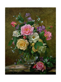 Roses in a Glass Vase Giclee Print by Albert Williams