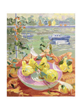 Pink Plate of Pears Giclee Print by Elizabeth Jane Lloyd