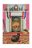 Fireside Scene at Christmas Giclee Print by Lavinia Hamer