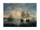 "Engagement Between the ""Bonhomme Richard"" and the ""Serapis"" Off Flamborough Head, 1779 Giclée-tryk af Richard Willis"