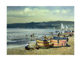 Children on the Beach at Abersoch Giclee Print by Trevor Chamberlain