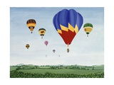 Ballooning over the Cotswolds Giclee Print by Maggie Rowe