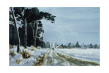 Hermitage Road in the Snow (Village of Higham, Near Rochester) Giclee Print by Vic Trevett