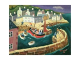 PZ.54. in Mousehole Harbour, Cornwall Giclée-tryk af William Cooper
