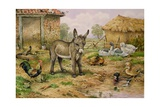 Donkey and Farmyard Fowl Giclee Print by Carl Donner