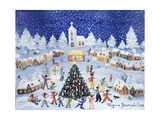 Snowy Christmas in a Village Square, 1991 Giclee Print by Gordana Delosevic