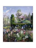 Irises in the Formal Gardens, 1993 Giclée-tryk af Timothy Easton