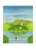 Lovers on the Bridge with Snow-Capped Mountains Giclee Print by Mark Baring
