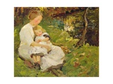Mother and Child in a Wooded Landscape, 1913 Giclee Print by Harold Harvey