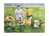 Rugby Match: England v Australia in the World Cup Final, 1991, Will Carling Being Tackled Giclee Print by Gareth Lloyd Ball