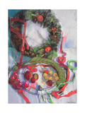 Making of Christmas Garlands Giclee Print by Claire Spencer