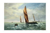 Sailing Barges Racing on the Medway Giclee Print by Vic Trevett