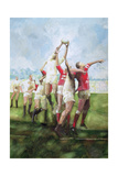 Rugby Match: Llanelli v Swansea, Line Out, 1992 Giclee Print by Gareth Lloyd Ball