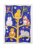 Five Christmas Cats Giclee Print by Cathy Baxter