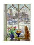 Snow Shadows and Cat Giclee Print by Timothy Easton