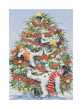 Snowmen in a Christmas Tree, 1999 Giclee Print by David Cooke