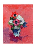 Anemones on a Red Ground, 1992 Giclee Print by Diana Schofield