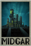 Midgar Retro Travel Poster Pósters