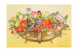 Trug with Fruit, Flowers and Chaffinches, 1991 Giclee Print by E.B. Watts