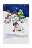 Little Snowmen Snowballing, 1996 Giclee Print by Diane Matthes