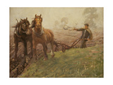 Man Ploughing a Field Giclee Print by Harold Harvey