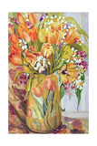 Tulips and Narcissi in an Art Nouveau Vase Giclee Print by Joan Thewsey
