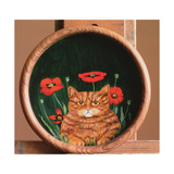 Cat and Poppies Giclee Print by Maggie Rowe