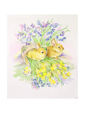 Rabbits in a Basket with Daffodils and Bluebells Giclee Print by Diane Matthes