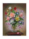 Roses, Peonies and Freesias in a Glass Vase Giclee Print by Albert Williams