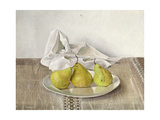 Three Pears on a Plate, Still Life, 1990 Giclee Print by Arthur Easton