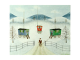 Gypsy Caravans in the Snow, 1981 Giclee Print by Mark Baring