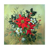 A Christmas Arrangement with Holly, Mistletoe and Other Winter Flowers Giclee Print by Albert Williams