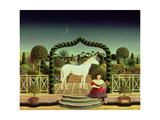 Girl with a Unicorn, 1980 Giclee Print by Anthony Southcombe