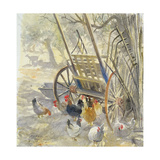 Chickens under Majorcan Cart, 1994 Giclee Print by Tim Scott Bolton