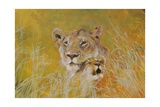 Mother and Baby I (Lions) 1995 Giclée-Druck von Odile Kidd