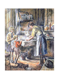 Helping with the Washing Up, 1975 Giclee Print by Anthea Durose