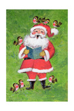 Father Christmas and Robin Chorus Giclee Print by Stanley Cooke