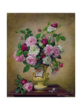 Roses and Dahlias in a Ceramic Vase Giclee Print by Albert Williams