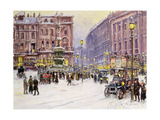 A Winter's Evening, Piccadilly, London Giclee Print by John Sutton