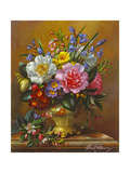 Peonies, Bluebells and Primulas Giclee Print by Albert Williams