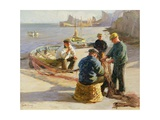 Newlyn Harbour: Mending the Nets Giclee Print by Harold Harvey