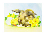 Easter Bunny with Primrose and Chick Giclee Print by Diane Matthes