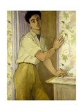 Self Portrait in the Bird Room, 1952 Giclee Print by Peter Samuelson