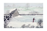 Cotswold Farm in Winter Giclee Print by Maggie Rowe