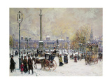 Winter's Mantle, Trafalgar Square, London Giclee Print by John Sutton