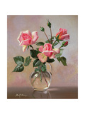 Pink Roses in a Glass Jug Giclee Print by Albert Williams
