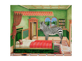 Zebra in a Bedroom, 1996 Giclee Print by Anthony Southcombe