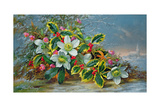Winter Roses in a Landscape Giclee Print by Albert Williams