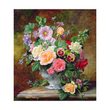 Roses, Pansies and Other Flowers in a Vase Giclee Print by Albert Williams